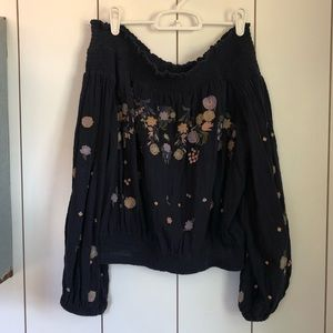 Free People embroidered off the shoulder top